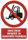 Zakaz ruchu urządzeń do transportu poziomego - znak bhp zakazujący - GC010