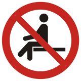 Zakaz siadania - znak bhp zakazujący - GAP018 - BHP na halach produkcyjnych