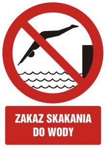 Zakaz skakania do wody - znak bhp zakazujący - GC040