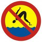 Zakaz skakania do wody - znak, kąpieliska - OH018