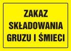 Zakaz składowania gruzu i śmieci - znak, tablica budowlana - OA093