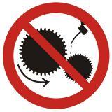 Zakaz smarowania urządzeń w ruchu - znak bhp zakazujący - GB004 - Warsztat samochodowy a wymogi BHP – bezpieczeństwo i znaki