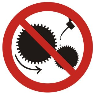 Zakaz smarowania urządzeń w ruchu - znak bhp zakazujący - GB004