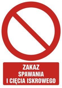 Zakaz spawania i cięcia iskrowego - znak bhp zakazujący - GC004