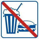 Zakaz spożywania posiłków i napojów - znak informacyjny - RA512 - Magazynowanie odpadów medycznych