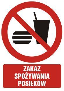 Zakaz spożywania posiłków - znak bhp zakazujący - GC036