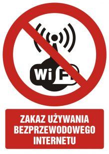 Zakaz używania bezprzewodowego internetu - znak bhp zakazujący - GC069