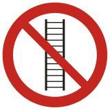 Zakaz używania drabiny - znak bhp zakazujący - GB040 - Znaki bezpieczeństwa w szkołach