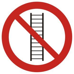 Zakaz używania drabiny - znak bhp zakazujący - GB040