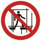 Zakaz używania niekompletnego rusztowania - znak bhp zakazujący - GAP025
