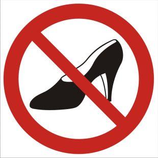 Zakaz używania obuwia na wysokim obcasie - znak bhp zakazujący - GB008
