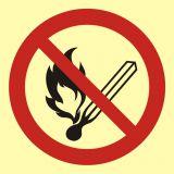 Zakaz używania otwartego ognia - palenie tytoniu zabronione - znak przeciwpożarowy ppoż - BA002 - Norma PN-92-N-01256-01