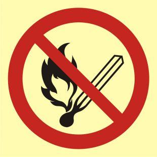 Zakaz używania otwartego ognia - palenie tytoniu zabronione - znak przeciwpożarowy ppoż - BA002