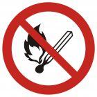 Zakaz używania otwartego ognia, zakaz palenia tytoniu - znak bhp zakazujący - GAP003
