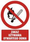 Zakaz używania otwartego ognia - znak bhp zakazujący - GC054