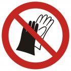 Zakaz używania rękawic roboczych - znak bhp zakazujący - GAP028