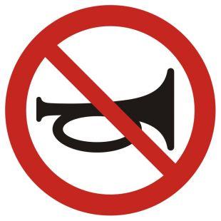 Zakaz używania sygnałów dźwiękowych - znak bhp zakazujący - GB007