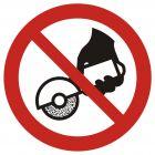 Zakaz używania szlifierki ręcznej - znak bhp zakazujący - GAP034