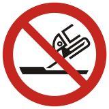 Zakaz używania szlifierki - znak bhp zakazujący - GAP032 - Ogólne minimalne wymagania dla znaków bezpieczeństwa
