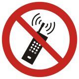 Zakaz używania telefonów komórkowych - znak bhp zakazujący - GAP013 - Znaki BHP w miejscu pracy (norma PN-93/N-01256/03)