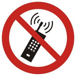 Zakaz używania telefonów komórkowych - znak bhp zakazujący - GAP013