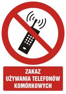 Zakaz używania telefonów komórkowych - znak bhp zakazujący - GC047