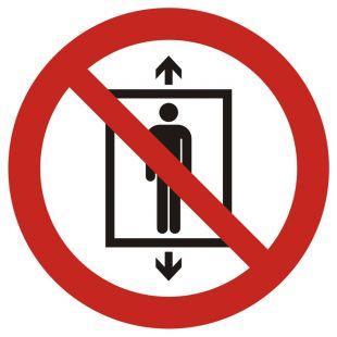 Zakaz używania windy przez ludzi - znak bhp zakazujący - GAP027