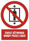 Zakaz używania windy przez ludzi - znak bhp zakazujący - GC090