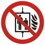 Zakaz używania windy w razie pożaru - znak bhp zakazujący - GAP020 - Znaki zakazu BHP – jak wpływają na bezpieczeństwo w miejscu pracy?