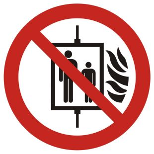 Zakaz używania windy w razie pożaru - znak bhp zakazujący - GAP020