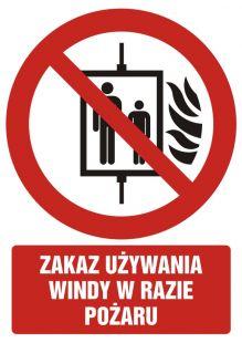 Zakaz używania windy w razie pożaru - znak bhp zakazujący - GC086
