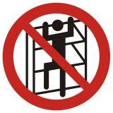 Zakaz wchodzenia na regały - znak bhp zakazujący - GB032 - Sposoby składowania materiałów w magazynie