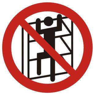 Zakaz wchodzenia na regały - znak bhp zakazujący - GB032