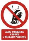Zakaz wchodzenia w obuwiu z metalowa podeszwą - znak bhp zakazujący - GC097