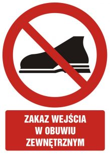 Zakaz wejścia w obuwiu zewnętrznym - znak bhp zakazujący - GC033