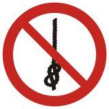 Zakaz wiązania węzłów - znak bhp zakazujący - GAP030 - Stocznia – bezpieczeństwo i higiena pracy