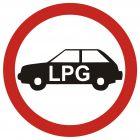 Zakaz wjazdu pojazdów napędzanych gazem (do garaży podziemnych i na parkingi o szczególnym przeznacz.) - znak PCV, naklejka - SA033