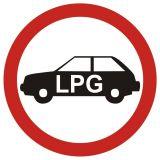 Zakaz wjazdu pojazdów napędzanych gazem (do garaży podziemnych i na parkingi o szczególnym przeznacz.) - znak PCV, naklejka - SA033 - Garaże a przepisy PPOŻ i wymagania