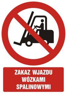 Zakaz wjazdu wózkami spalinowymi - znak bhp zakazujący - GC011
