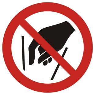 Zakaz wkładania rąk do środka - znak bhp zakazujący - GAP015