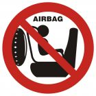 Zakaz wożenia dziecka w foteliku na przednim siedzeniu. Samochód posiada poduszkę powietrzną - znak, naklejka samochodowa - SC001
