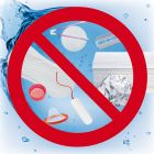 Zakaz wrzucania do toalety - znak informacyjny - PC607