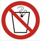 Zakaz wrzucania niedopałków do kosza - znak bhp zakazujący - GB025