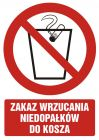 Zakaz wrzucania niedopałków do kosza - znak bhp zakazujący - GC050