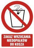Zakaz wrzucania niedopałków do kosza - znak bhp zakazujący - GC050 - Znaki BHP w miejscu pracy (norma PN-93/N-01256/03)