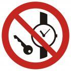 Zakaz wstępu z przedmiotami metalowymi i zegarkami - znak bhp zakazujący - GAP008