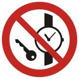 Zakaz wstępu z przedmiotami metalowymi i zegarkami - znak bhp zakazujący - GAP008 - Znaki BHP w miejscu pracy (norma PN-93/N-01256/03)