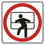 Zakaz wychylania się przez okno - znak, naklejka kolejowa - SD001 - Znaki do pociągów – oznakowanie stosowane w wagonach pasażerskich