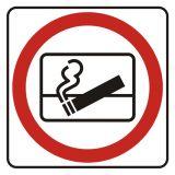 Zakaz wyrzucania  niedopałków za okno - znak, naklejka kolejowa - SD003 - Znaki do pociągów – oznakowanie stosowane w wagonach pasażerskich