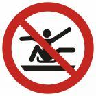 Zakaz wystawiania kończyn poza sanie (tobogan) - znak bhp zakazujący - GAP046